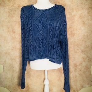 ☾Forever 21 Dark Blue Cable Knit Cropped Sweater☽